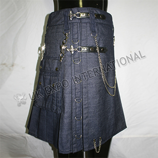 Active Men 2 Leather straps Chrome Metal Parts Blue Denim Utility Kilts Heavy Weight