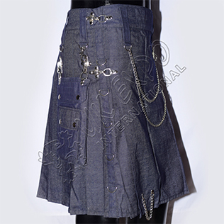 Active Men Chrom Metal Parts Blue Demin Utility Kilts Heavy Wieght