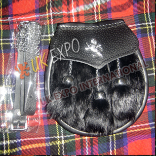Adult Sporrans Black Rabbit fur with 3 tessel and Rampart Lion badge on Flap