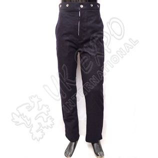 American civil war trouser dark blue with red line and tin buttons