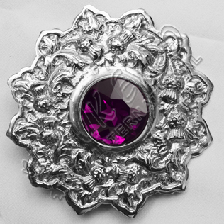Amethyst Stone Thistle Trim Brooches