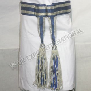 Army Sash Waist Belt Blue silk with Silver bullioln Waist Sash