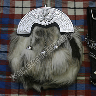 Artificial multi color fur with Celtic cantel dress sporran