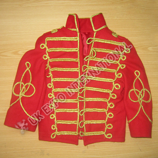 Baby and boy size Red color Hussar Jacket with Golden Cord