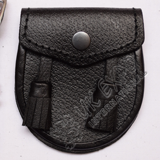 Baby Black Leather Embossed Sporran