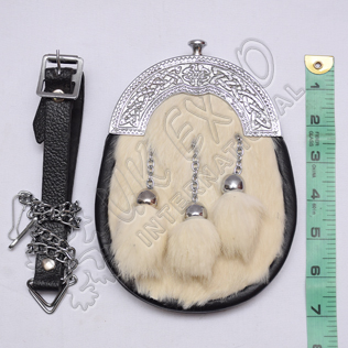 White Fur Baby Sporran Celtic Design Cantle with Three Tessels
