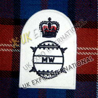 Badge Rating Embroidered Blue on white