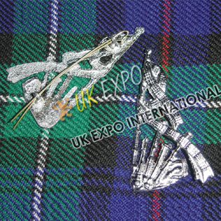 Bagpipe Chrom Finish Badge