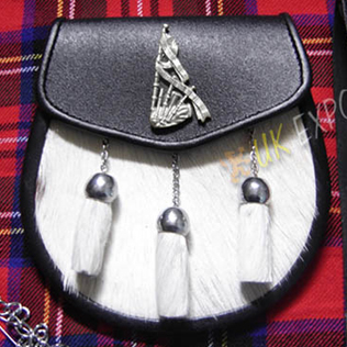 Bagpiper Badge Goat Skin Leather Sporran
