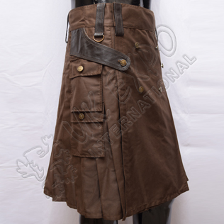 Battle Man Brown Utility Kilt with Leather and antique metal parts