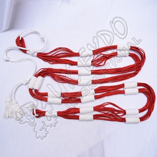 Belt Scarf White and Red Cavalry hussar Barrel Sash Silk