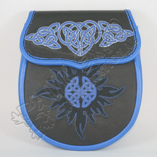 Black and Blue Real leather With Hand Embroidery Work Sporran
