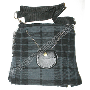 Black and Gray color tartan Ladies Bag