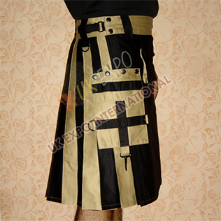 Black and Khaki Modern Kilt