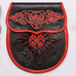 Black and Red Real leather With Hand Embroidery Work