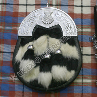 Black and White Artfiacial Skin with Celtic Cantal scottish flower on it