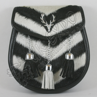 Black and White Goat Skin with Contras Tessels and Stage Metal Badge on Flap