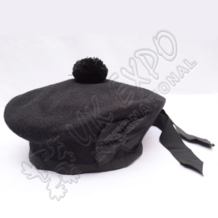 Black Balmoral Hat with Black Pom Pom
