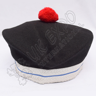 Black Balmoral Hat With Red Pom Pom