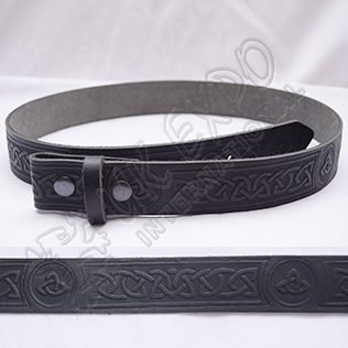 Black Celtic Design Belt with Scottish Celtic Embossed real leather belt