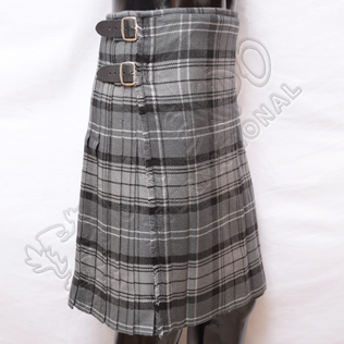 Black charcoal Gray Hamilton Tartan 8 Yard Kilt