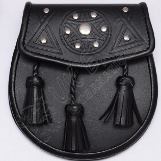Black Color Cow Hide Super Fine Leather Embossed Sporran