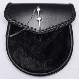 Black color Cow Skin with Chain Lock Edge Corner hand Made Knot work without tessels