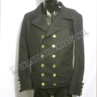 Black Color Double Breast Wool Coat with Anchor Buttons