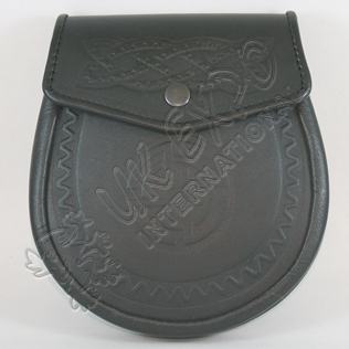 Black Real Plain Leather Sporran with celtic Embossed