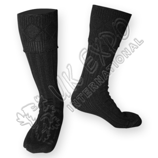 Rhombus Cuff Black Color Kilt Woolen Socks