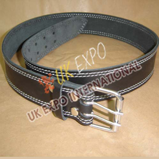 Black Color Leather Utiltiy kilt Belt With Double pin Ruler Buckle