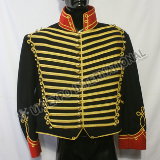 Black Color Military Hussar Jacket with Golden Braid