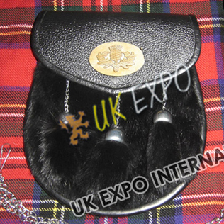 Black Color Rabbit Fur Leather Sporran