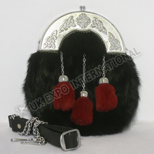 Black Color Rabbit furr sporrans with Red tessels Chrome Celtic Cantle