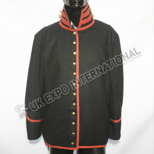 Black Color Wool Coat with Red Braid