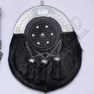 Black CowHide Skin 3 cross tessels Celtic Embossed with Studs
