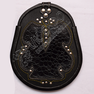 Black Crocodile Skin Real Leather Fancy Sporran