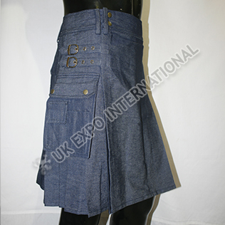 Blue color Denim Utility kilt
