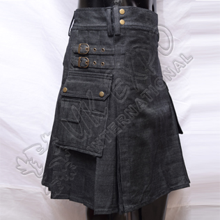 Black Denim Utility kilts