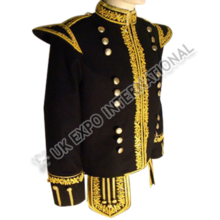 Black Doublet with gold bullion Embroidery and gold Braid and cold