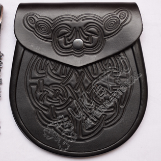 Black Embossed Leather Sporran
