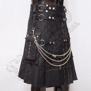 Black Fashion Utility kilt, Black Cotton and Chains