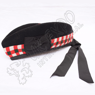 Black Glengarry Hat with white dicing and red pom