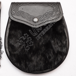 Black Goat Skin and celtic embossed on flap