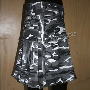 Black Gray and White Urban Camouflage Commando Kilts