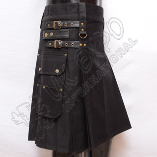 Black Heavy Duty Utility Kilts with 4 Straps closing