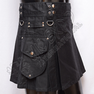 Black ladies  utility kilts with brass chrome metal parts. Round shape pocket