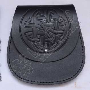 Black Leather Day Wear Sporrans Celtic Design on Flap