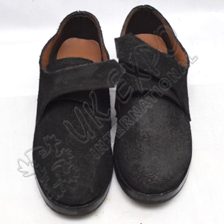 Black Leather Ghillie Brogues Shoes Out Ruff Side