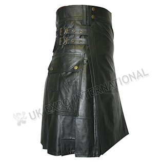 Black Real Leather Utility Kilt 2 Straps closing and brass Meterial